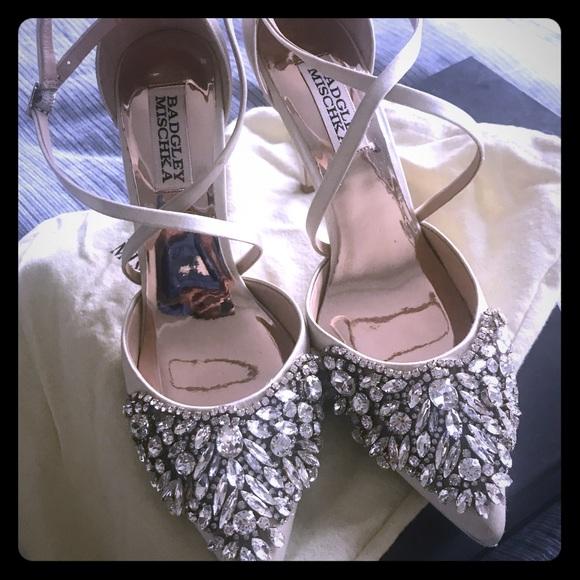 91db1ab33b Badgley Mischka Shoes | Harlene Embellished Satin Pumps | Poshmark